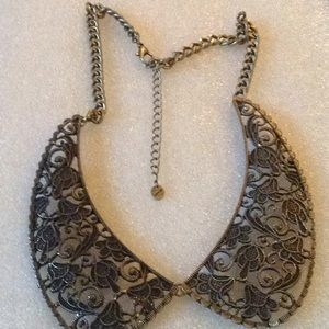 Vintage brass engraved necklace
